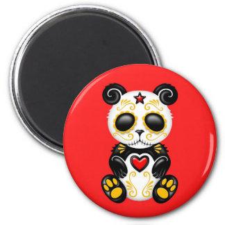 Yellow Zombie Sugar Panda on Red Fridge Magnets