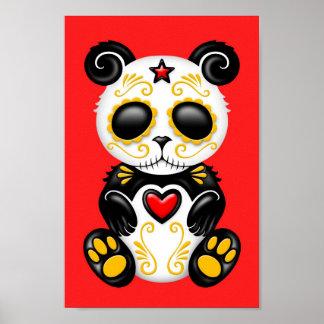 Yellow Zombie Sugar Panda on Red Poster