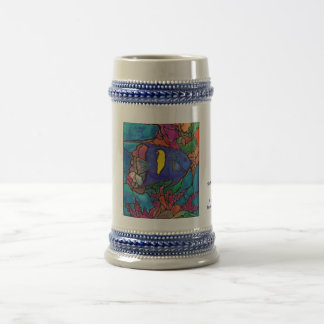 """Yellowbar Angelfish Coral Reef Art """"Stained Glass"""" Beer Stein"""