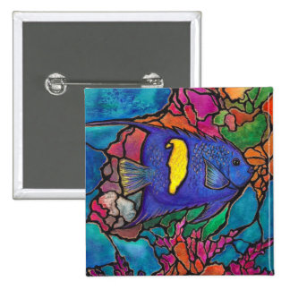 "Yellowbar Angelfish Coral Reef Art ""Stained Glass"" Button"