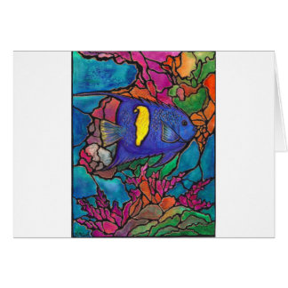 "Yellowbar Angelfish Coral Reef Art ""Stained Glass"" Greeting Card"