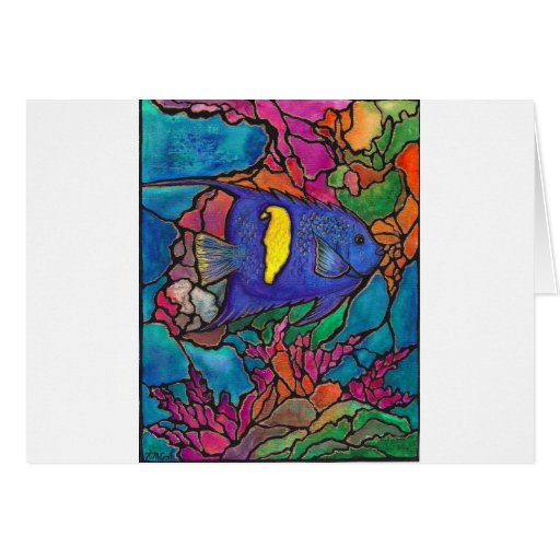 "Yellowbar Angelfish Coral Reef Art ""Stained Glass"" Greeting Cards"