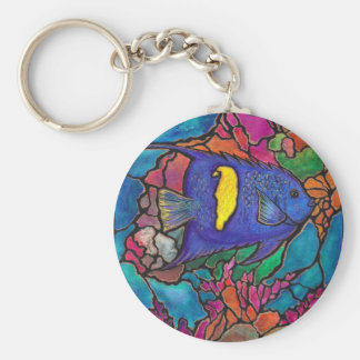 """Yellowbar Angelfish Coral Reef Art """"Stained Glass"""" Keychain"""