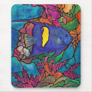 """Yellowbar Angelfish Coral Reef Art """"Stained Glass"""" Mouse Pad"""