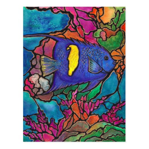 "Yellowbar Angelfish Coral Reef Art ""Stained Glass"" Post Cards"