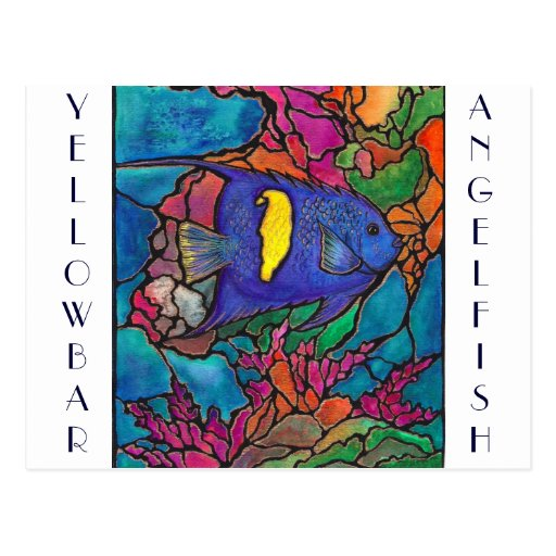 "Yellowbar Angelfish Coral Reef Art ""Stained Glass"" Post Card"
