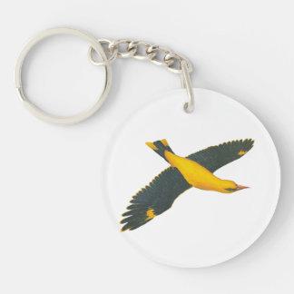 YellowBird Flying Single-Sided Round Acrylic Keychain