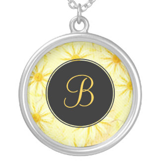 YellowDaisy Monogram Necklace - April Birth Flower