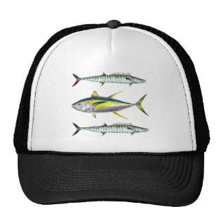 yellowfin and wahoo fish pattern trucker hat