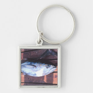 Yellowfin Tuna caught Silver-Colored Square Keychain