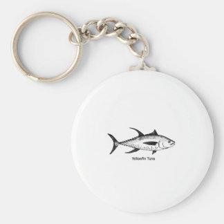 Yellowfin Tuna Line Art Logo Basic Round Button Keychain