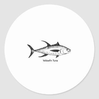 Yellowfin Tuna Line Art Logo Classic Round Sticker