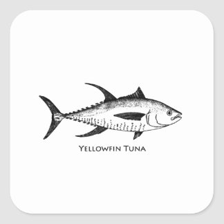 Yellowfin Tuna Logo Square Sticker