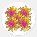 YellowFlower2 Etiquetas Redondas