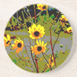yellowflowerspossterized drink coaster