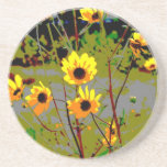 yellowflowerspossterized drink coasters