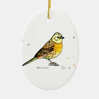 Yellowhammer bird ceramic ornament