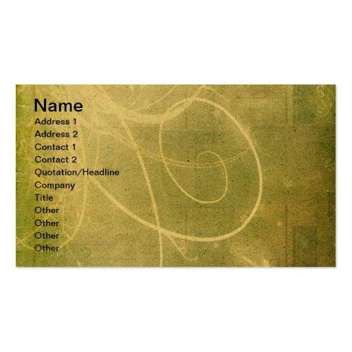 Yellowish Green GRUNGE SWIRLS DIRTY BACKGROUNDS W Business Card