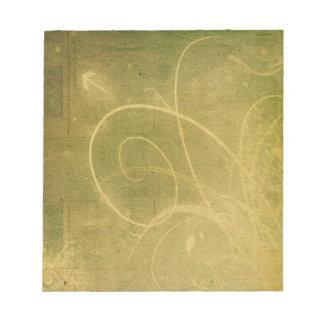 Yellowish Green GRUNGE SWIRLS DIRTY BACKGROUNDS W Notepad