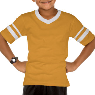 Yellowish white T-shirt with queue print
