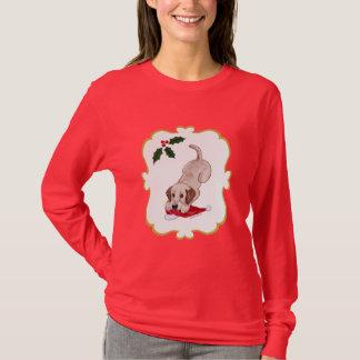 YellowLabrador Puppy & Santa Hat Christmas T-Shirt
