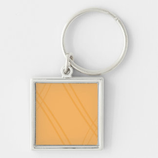 YellowOrange Crissed Crossed Silver-Colored Square Keychain
