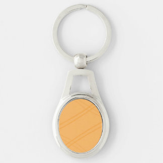 YellowOrange Crissed Crossed Silver-Colored Oval Metal Keychain