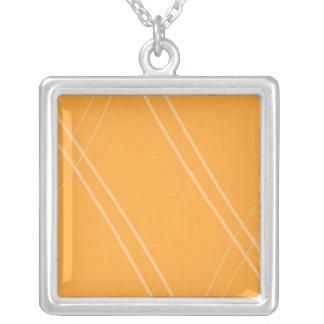 YellowOrangeInverted Crissed Crossed Square Pendant Necklace