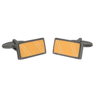 YellowOrangeInverted Crissed Crossed Gunmetal Finish Cufflinks