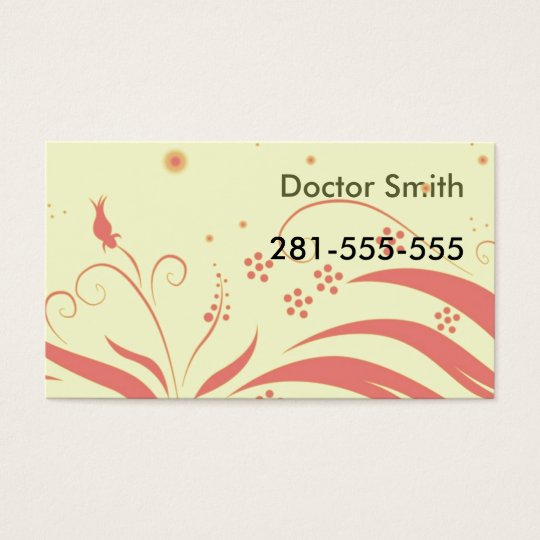 yellowpinkpattern, Doctor Smith, 281-555-555 Business Card