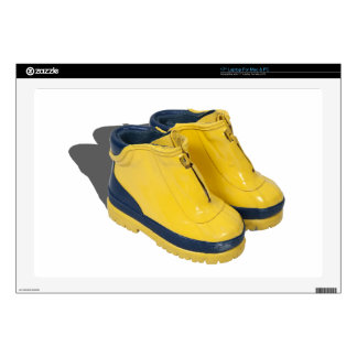 """YellowRubberBoots042112.png 17"""" Laptop Decal"""