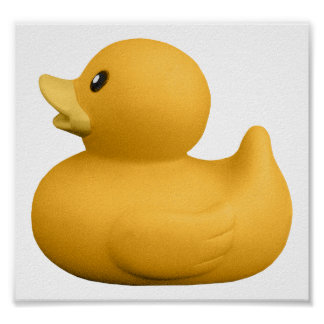 YellowRubberDuck CUTE YELLOW RUBBER DUCK DUCKIE GR Poster