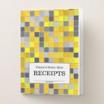[ Thumbnail: Yellows and Grays Tiled Squares Pattern Pocket Folder ]