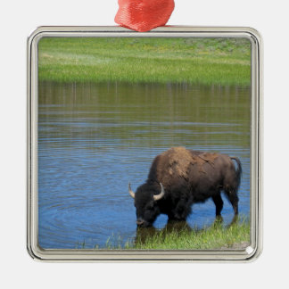 Yellowstone American Bison in Pond Metal Ornament