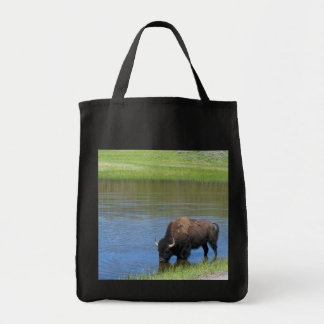 Yellowstone American Bison in Pond Tote Bag