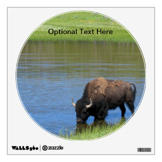 Yellowstone American Bison in Pond Wall Sticker