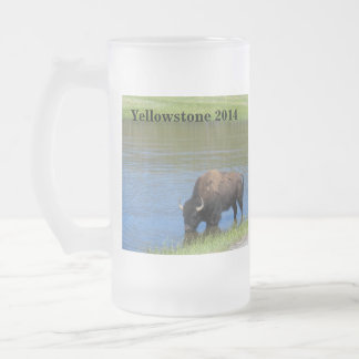 Yellowstone Buffalo Souvenir Frosted Glass Beer Mug