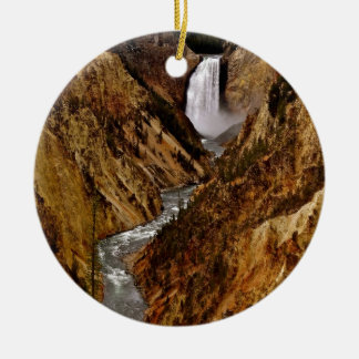 YELLOWSTONE FALL IN YELLOWSTONE NATIONAL PARK CERAMIC ORNAMENT