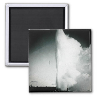 Yellowstone Geyser Vintage Glass Slide 2 Inch Square Magnet
