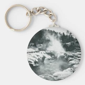 Yellowstone Geyser Vintage Glass Slide Basic Round Button Keychain