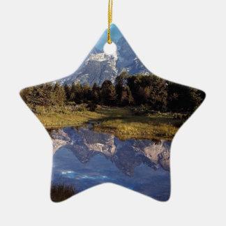 Yellowstone Grand Teton Reflections Double-Sided Star Ceramic Christmas Ornament