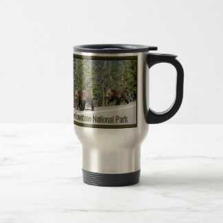Yellowstone Grizzly Bear Mama and Cubs 15 Oz Stainless Steel Travel Mug
