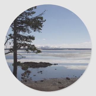 Yellowstone Lake in late spring. Classic Round Sticker