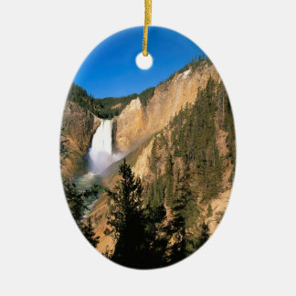 Yellowstone Lower Falls Wyoming Double-Sided Oval Ceramic Christmas Ornament