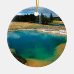 Yellowstone Morning Glory Pool Wyoming Double-Sided Ceramic Round Christmas Ornament
