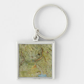 Yellowstone National Park 2 Silver-Colored Square Keychain
