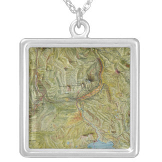Yellowstone National Park 2 Square Pendant Necklace