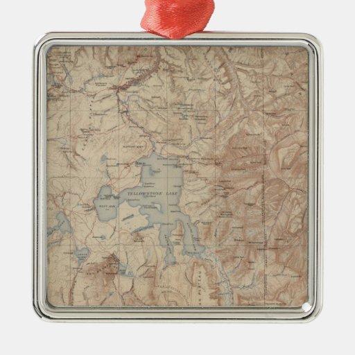 Yellowstone National Park 2 Square Metal Christmas Ornament