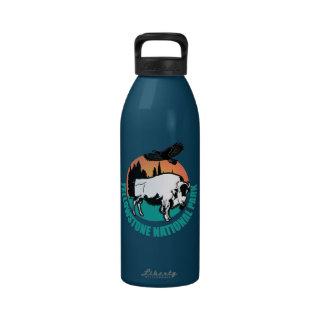 Yellowstone national park bison drinking bottles