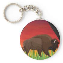 Yellowstone National Park Bison Wyoming Montana Keychain